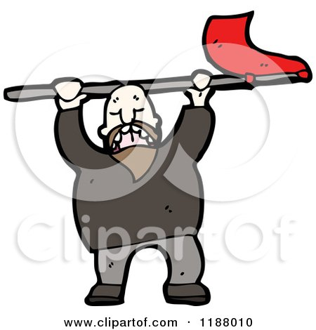 Cartoon of a Man Waving a Flag - Royalty Free Vector Illustration by lineartestpilot