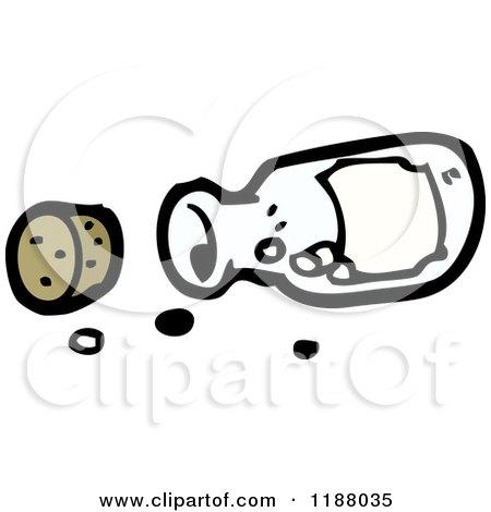 Cartoon of a Spilled Medicine Bottle - Royalty Free Vector Illustration by lineartestpilot