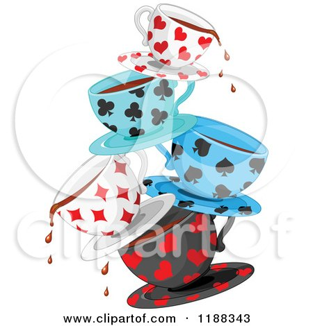 Cartoon of Stacked Dripping Tea Cups Patterned in Playing Card Suit Shapes - Royalty Free Vector Clipart by Pushkin