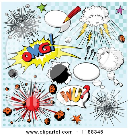 Cartoon of Explosions and Comic Design Elements on Blue Halftone - Royalty Free Vector Clipart by Pushkin