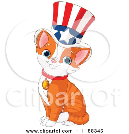 Cartoon of a Cute Patriotic Ginger Cat Wearing an American Top Hat - Royalty Free Vector Clipart by Pushkin