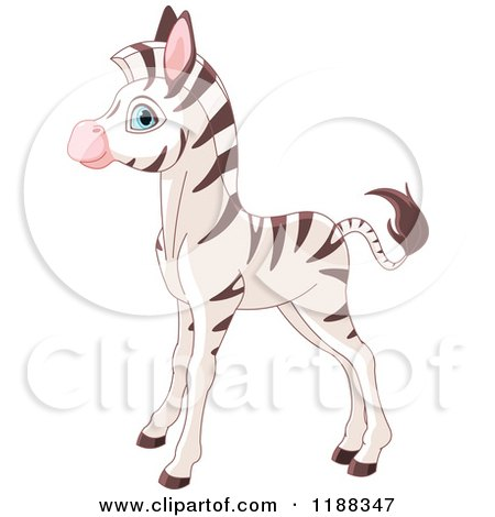 Cartoon of a Cute Baby Zebra Standing in Profile - Royalty Free Vector Clipart by Pushkin