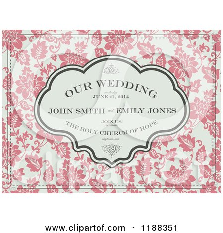 Clipart of a Vintage Pink and Beige Floral Wedding Invite with Sample Text and Swirls - Royalty Free Vector Illustration by BestVector