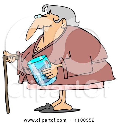 Cartoon of a Senior Woman with a Cane and Her Teeth in a Glass - Royalty Free Clipart by djart