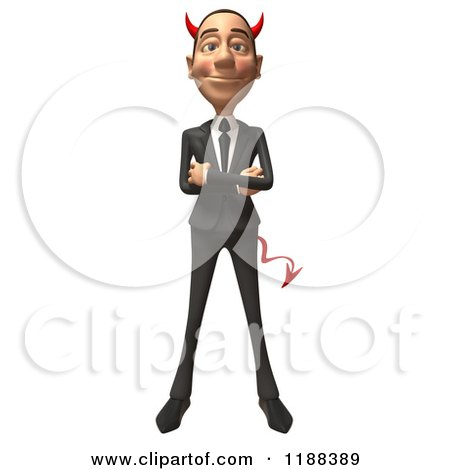 Clipart of a 3d Con Artist Business Man with Horns and Folded Arms - Royalty Free CGI Illustration by Julos
