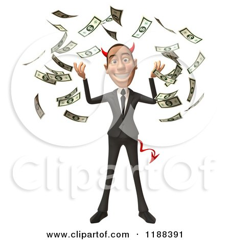 Clipart of a 3d Con Artist Business Man with Horns and Cash - Royalty Free CGI Illustration by Julos