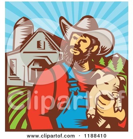 Clipart of a Retro Woodcut Male Pig Farmer Holding a Piglet Against a Farm - Royalty Free Vector Illustration by patrimonio