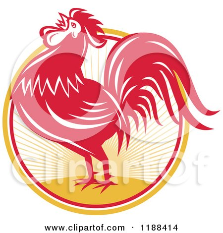 Clipart of a Retro Red Crowing Rooster over a Sunrise Circle - Royalty Free Vector Illustration by patrimonio