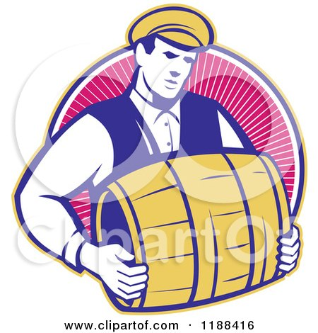 Clipart of a Retro Bartender Carrying a Beer Keg Barrel over Rays - Royalty Free Vector Illustration by patrimonio