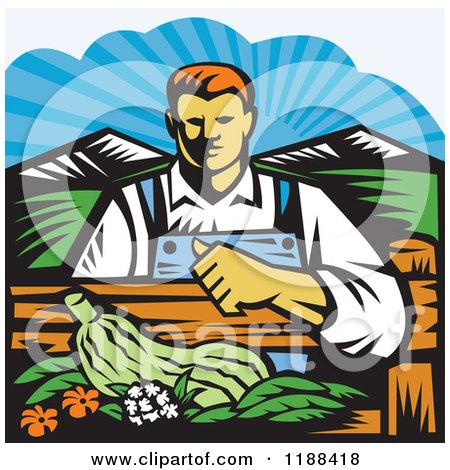 Clipart of a Retro Woodcut Male Organic Farmer with Produce, Behind a Fence - Royalty Free Vector Illustration by patrimonio