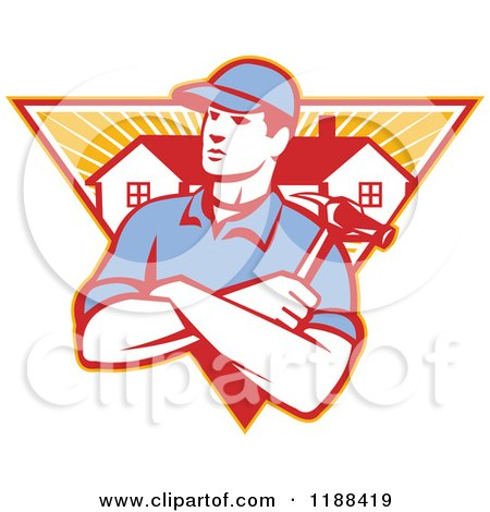 Clipart of a Retro Home Builder with Folded Arms and a Hammer over a Triangle of Houses and Rays - Royalty Free Vector Illustration by patrimonio
