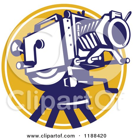 Clipart of a Retro Movie Camera over a Yellow Circle - Royalty Free Vector Illustration by patrimonio