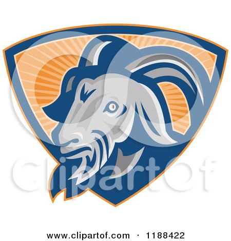 Clipart of a Retro Goat in a Shield of Orange Rays - Royalty Free Vector Illustration by patrimonio