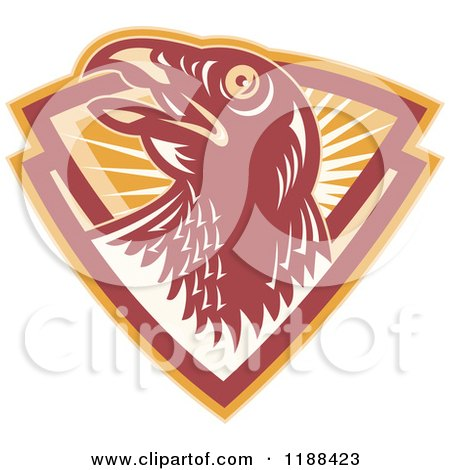 Clipart of a Retro Hawk in a Shield of Rays - Royalty Free Vector Illustration by patrimonio