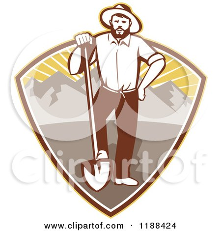 Clipart of a Retro Gold Miner Man Standing with a Shovel in a Mountain and Sunshine Shield - Royalty Free Vector Illustration by patrimonio