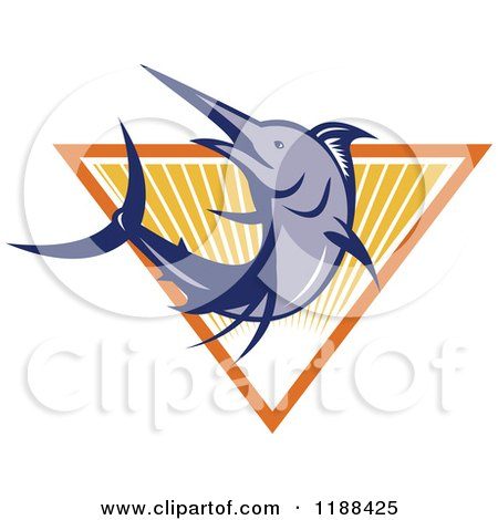 Clipart of a Retro Blue Marlin Fish Leaping over a Triangle of Rays - Royalty Free Vector Illustration by patrimonio