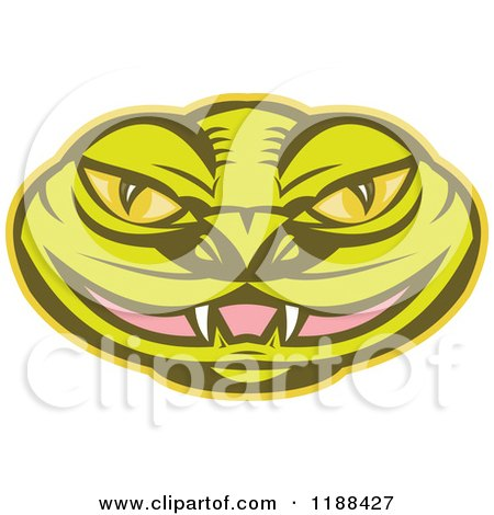Clipart of a Green Viper Snake Head with a Slightly Open Mouth - Royalty Free Vector Illustration by patrimonio