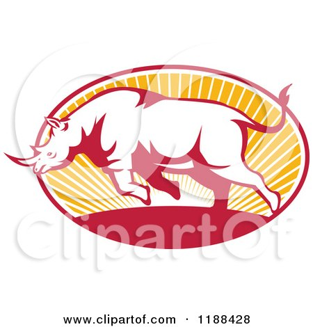Clipart of a Retro Charging Rhino over an Oval of Sun Rays - Royalty Free Vector Illustration by patrimonio