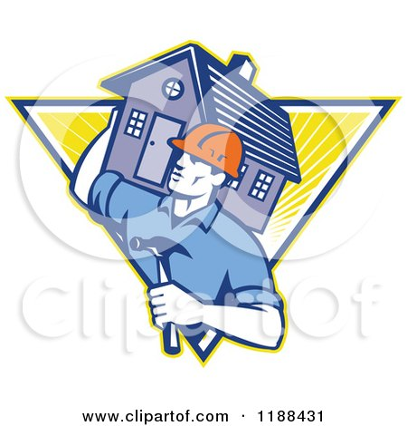 Clipart of a Retro Home Builder with a Hammer, Carrying a House over a Triangle of Rays - Royalty Free Vector Illustration by patrimonio
