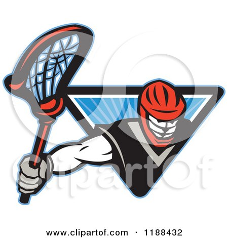 Clipart of a Retro Lacrosse Player Emerging from a Blue Triangle of Rays - Royalty Free Vector Illustration by patrimonio