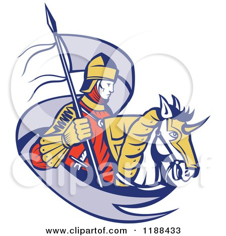 Clipart of a Retro Knight on Horseback with a Ribbon Flag - Royalty Free Vector Illustration by patrimonio