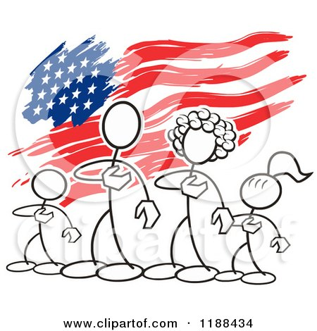 Cartoon of a Patriotic American Stickler Family over an American Flag - Royalty Free Vector Clipart by Johnny Sajem
