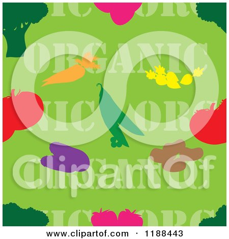 Clipart of a Seamless Green Organic Produce Background with Text and Food - Royalty Free Vector Illustration by Maria Bell