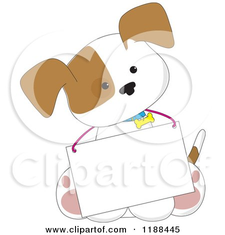 Cartoon of a Cute Puppy Wearing a Message Board Sign Around His Neck - Royalty Free Vector Clipart by Maria Bell