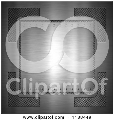 Clipart of a 3d Brushed Metal Plaque with Rivets and Mesh - Royalty Free CGI Illustration by KJ Pargeter