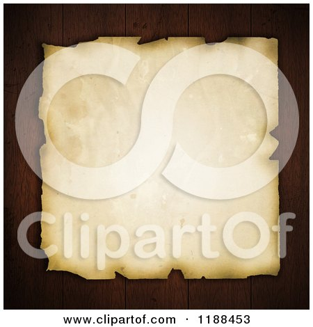 Clipart of Vintage Aged and Stained Paper over Dark Wood Planks - Royalty Free CGI Illustration by KJ Pargeter