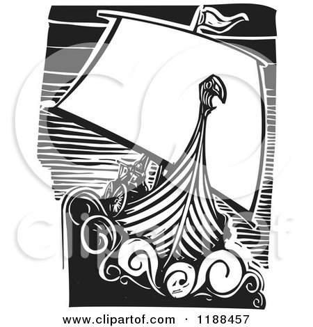 Clipart of a Black and White Viking Longship Boat at Sea Woodcut - Royalty Free Vector Illustration by xunantunich