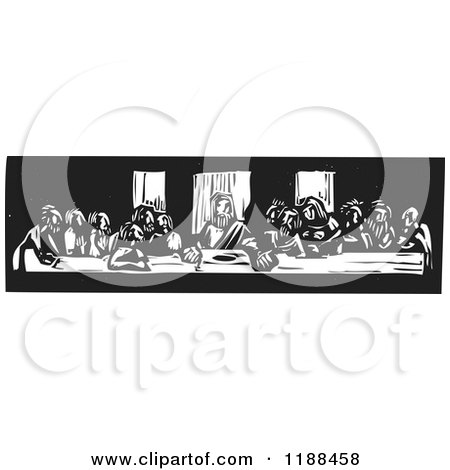 Clipart of the Last Supper Black and White Woodcut - Royalty Free Vector Illustration by xunantunich