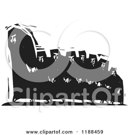 Clipart of a Black and White Hijab Caterpillar of People Woodcut - Royalty Free Vector Illustration by xunantunich