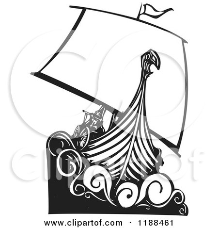 Clipart of a Black and White Viking Longship Boat Woodcut - Royalty Free Vector Illustration by xunantunich