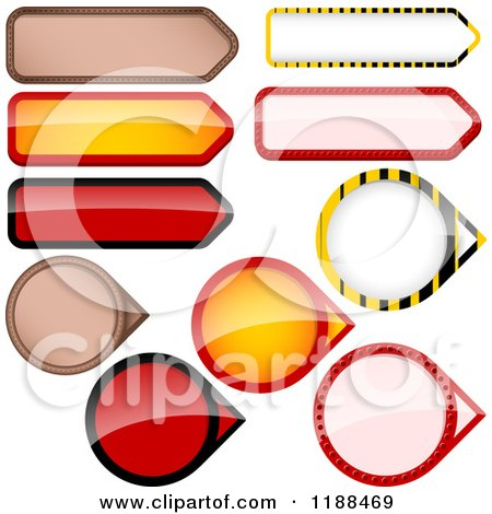 Clipart of Reflective Round and Rectangular Price Tag Design Elements - Royalty Free Vector Illustration by dero
