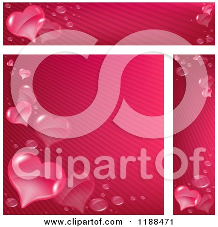 Clipart of Pink Stripe and Heart Website Banners and Background - Royalty Free Vector Illustration by dero