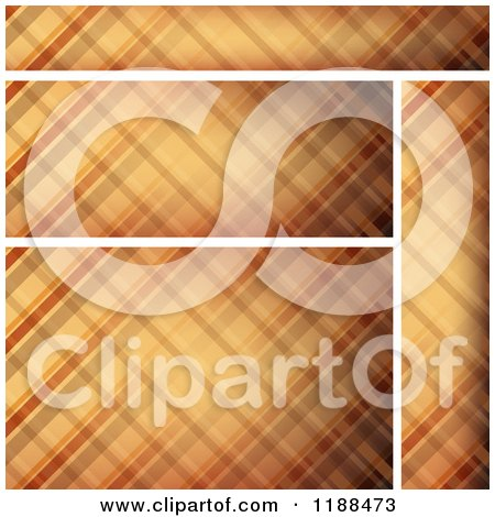 Clipart of Brown Plaid Website Banners and Background - Royalty Free Vector Illustration by dero