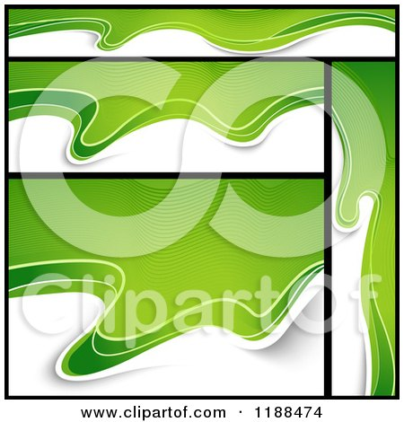 Clipart of Green and White Mesh Wave Website Banners and Background - Royalty Free Vector Illustration by dero