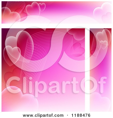 Clipart of Pink Wave and Heart Website Banners and Background - Royalty Free Vector Illustration by dero