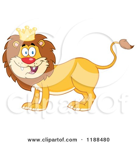 Cartoon of a Happy Male Lion Wearing a Crown - Royalty Free Vector Clipart by Hit Toon