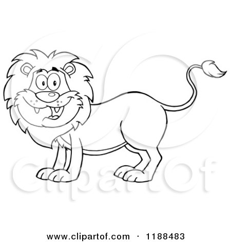 Cartoon of a Black and White Happy Male Lion Smiling - Royalty Free Vector Clipart by Hit Toon