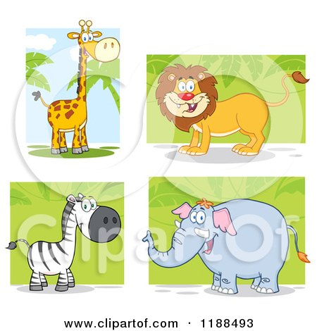 Cartoon of a Happy Giraffe, Lion, Zebra and Elephant over Foliage - Royalty Free Vector Clipart by Hit Toon