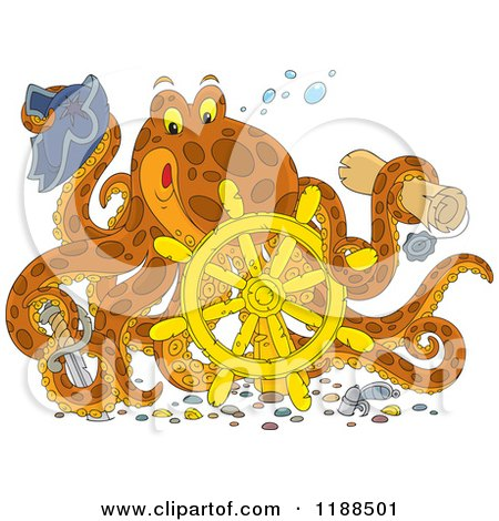 Cartoon of a Happy Captain Octopus with a Scroll Hat Sword and Sunken Helm - Royalty Free Vector Clipart by Alex Bannykh