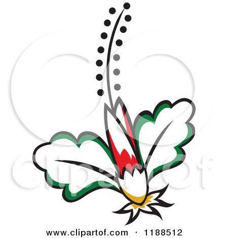 Clipart of a Flower with Leaves and a Stamen 4 - Royalty Free Vector Illustration by Cherie Reve
