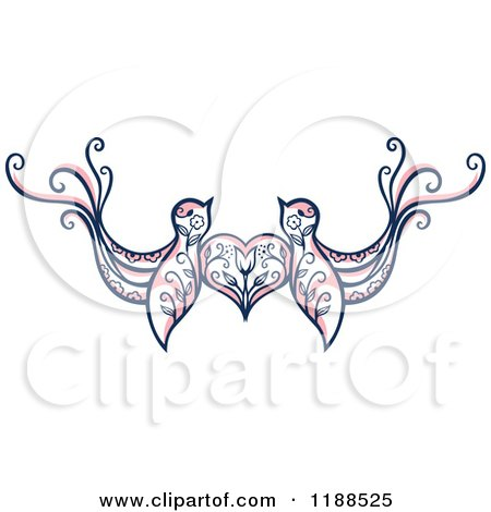 Clipart of a Pair of Floral Love Birds with a Heart - Royalty Free Vector Illustration by Cherie Reve
