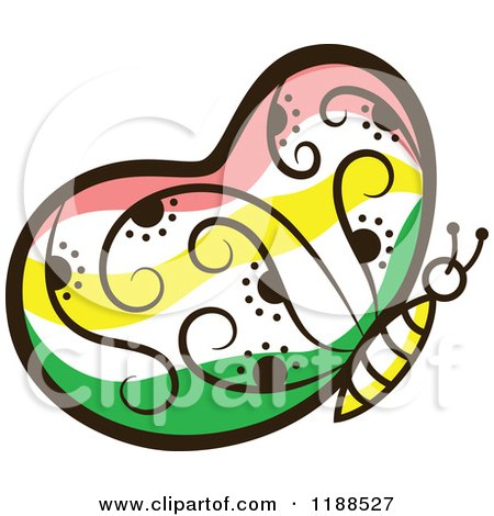 Clipart of a Floral Butterfly - Royalty Free Vector Illustration by Cherie Reve