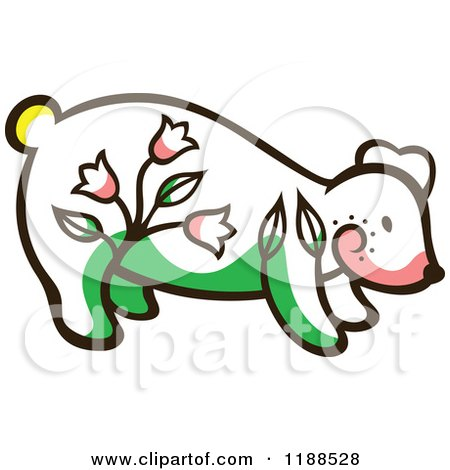 Clipart of a Cute Floral Bear - Royalty Free Vector Illustration by Cherie Reve