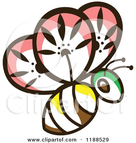Clipart of a Floral Bee - Royalty Free Vector Illustration by Cherie Reve