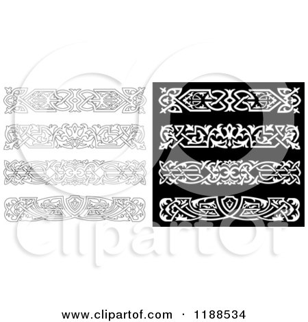 Clipart of Ornate Black and White Borders - Royalty Free Vector Illustration by Vector Tradition SM
