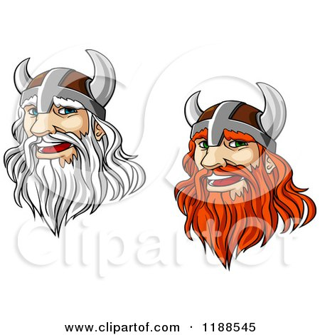 Clipart of Red and White Haired Viking Warriors with Long Beards - Royalty Free Vector Illustration by Vector Tradition SM